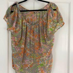 Rebecca Taylor cold shoulder floral blouse
